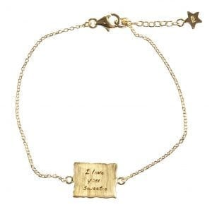 BETTY BOGAERS BRACELET MESSAGE B470 Gold I Love you Sweetie Chain Bracelet