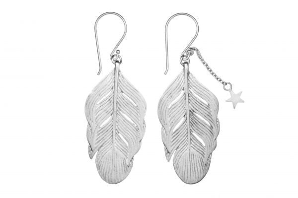 BETTY BOGAERS EARRING FEATHER E24 Silver Feather Earring