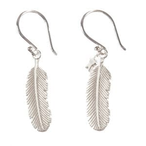 BETTY BOGAERS EARRING FEATHER E465 Silver Medium Feather Earring