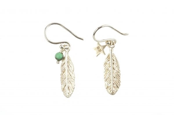 BETTY BOGAERS EARRING FEATHER E79 Silver Small Feather Earring