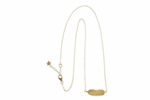 BETTY BOGAERS EARRING FEATHER N465 Gold Medium Feather Necklace
