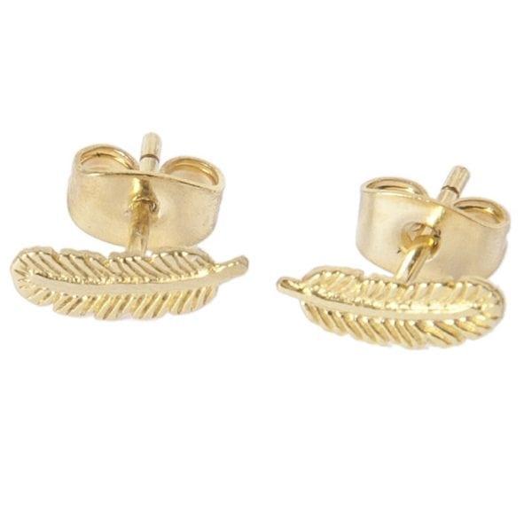 BETTY BOGAERS EARRING LITTLE THINGS E477 Gold Little Feather Stud Earring
