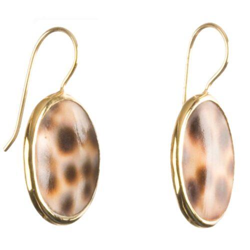 BETTY BOGAERS EARRING SHELL E308 Gold Tiger Shell Small Earring