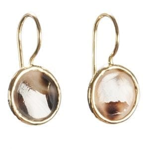 BETTY BOGAERS EARRING SHELL E455 Gold Round Mini Tiger Shell Earring