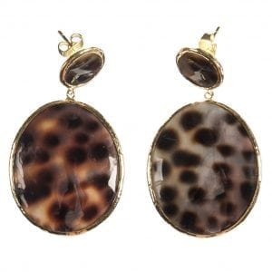 BETTY BOGAERS EARRING SHELL E496 Gold Tiger Two Rounds Shell Earring LARGE