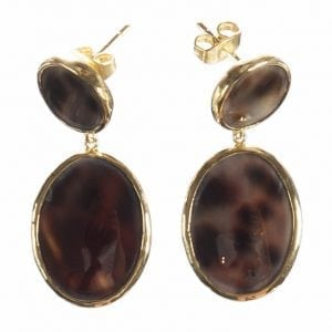 BETTY BOGAERS EARRING SHELL E496 Gold Tiger Two Rounds Shell Earring MEDIUM