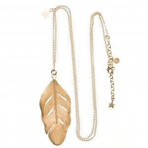 BETTY BOGAERS NECKLACE FEATHER N24 Gold Feather Necklace