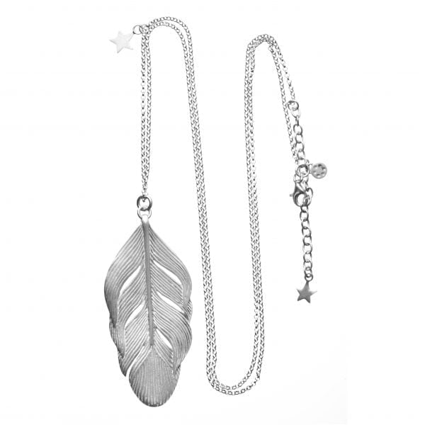 BETTY BOGAERS NECKLACE FEATHER N24 Silver Feather Necklace