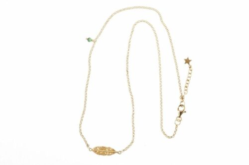 BETTY BOGAERS NECKLACE FEATHER N78 Gold Short Feather Necklace