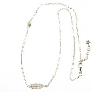 BETTY BOGAERS NECKLACE FEATHER N78 Silver Short Feather Necklace
