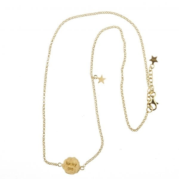BETTY BOGAERS NECKLACE MESSAGE N12 Gold Short Lucky Me Necklace