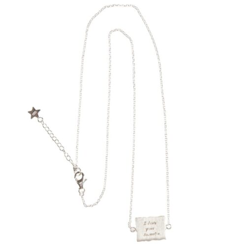 BETTY BOGAERS NECKLACE MESSAGE N470 Silver I Love you Sweetie Necklace