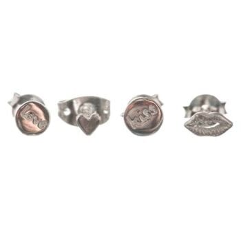 BETTY-BOGAERS-EARRING-LITTLE-THINGS-E596-Silver-Mix-and-Match-LOVE-Love-Kiss-Lips-Mini-Heart-44,95