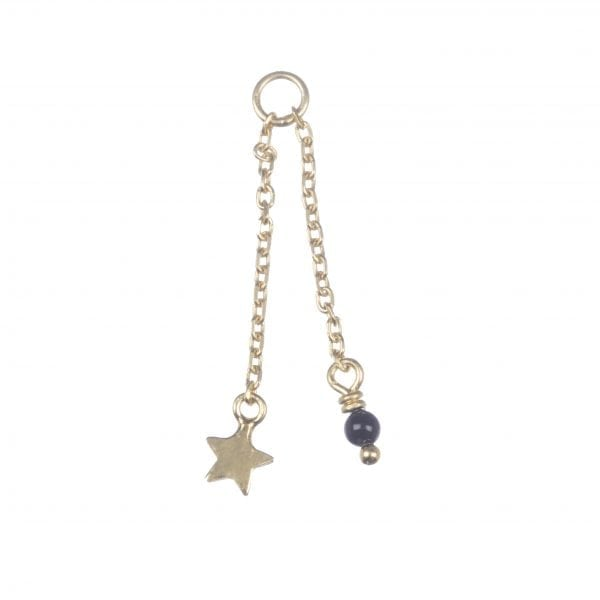 BETTY BOGAERS EARRING ADD ONS E604 Gold Addon For Stud Earring Chain Mini Star plus Gem (per piece) 14,95