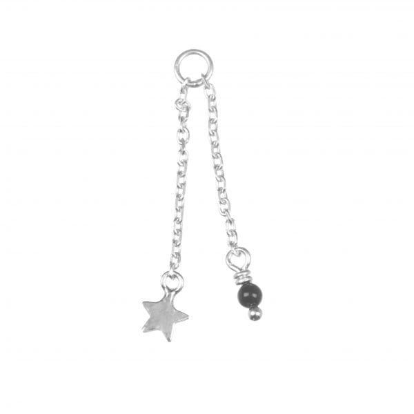 BETTY BOGAERS EARRING ADD ONS E604 Silver Addon For Stud Earring Chain Mini Star plus Gem (per piece) 13,95