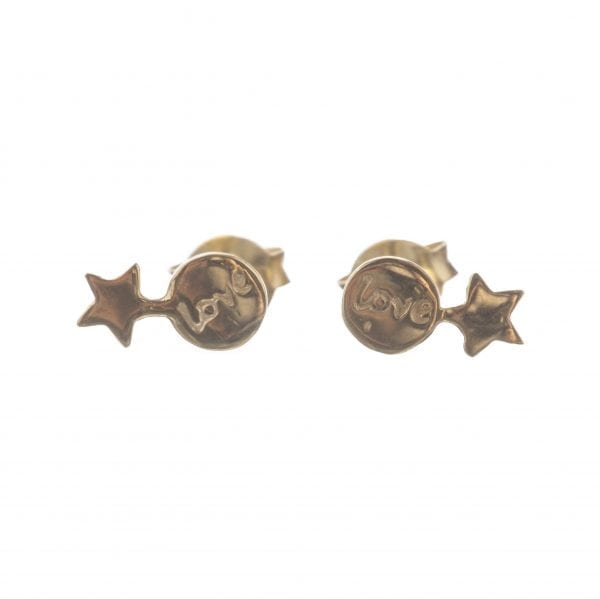 BETTY BOGAERS EARRING LITTLE THINGS E586 Gold Two Connected Star-Love Earring 44,95
