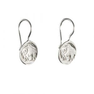 BETTY BOGAERS EARRING TIGER INDIAN E571a Silver Buffalo Coin Hook Earring 39,95