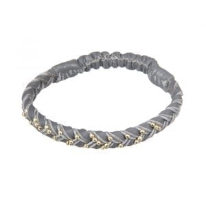 BETTY BOGAERS BRACELET EGYPT B630 Gold Braided Fine Blue Grey Leather Bracelet 44,95