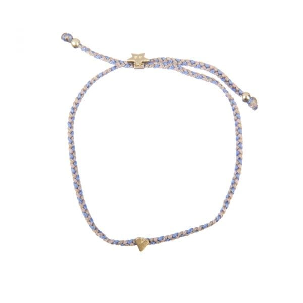BETTY BOGAERS BRACELET LITTLE THINGS B620 Gold Braided Asymmetric Heart Rope Bracelet (Beige-Coral) 39,95