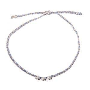 BETTY BOGAERS BRACELET SEA ROCKS B606 Silver Mini Skull Braided Bracelet (beige - grey - blue grey) 39,95