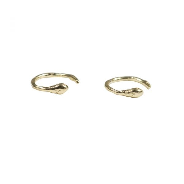 BETTY-BOGAERS-EARRING-SNAKE-AND-CROCO-E689-Gold-Fine-Snake-Mini-Ring-Earring