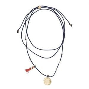 BETTY BOGAERS NECKLACE COIN N661 Gold Ten Cent Rope Necklace DARK BLUE 49,95
