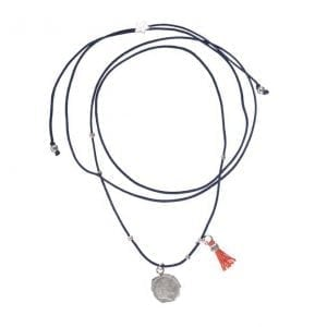 BETTY BOGAERS NECKLACE COIN N661 Silver Ten Cent Rope Necklace DARK BLUE 39,95