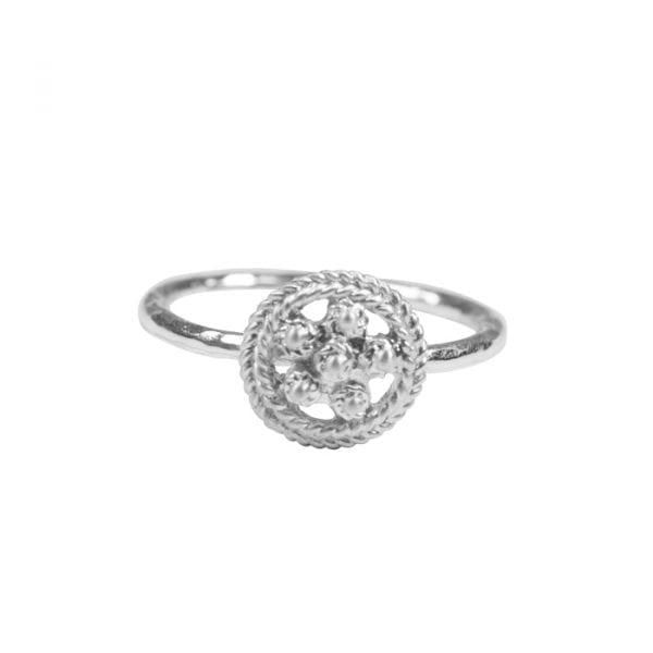 BETTY-BOGAERS-RING-FLOWERS-LEAFS-R664-Silver-Romantic-Flower-Ring-