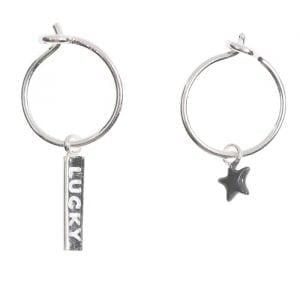BETTY-BOGAERS-EARRING-SMALL-HOOPS-E734-Silver-Small-Hoop-Earring-Lucky-Bar-Grey-Star
