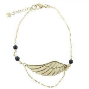B770 Gold BRACELET MONOCHROME Large Black Onyx Wings Bracelet