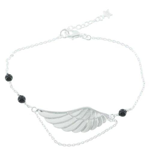 B770 Gold BRACELET MONOCHROME Large Black Onyx Wings Bracelet