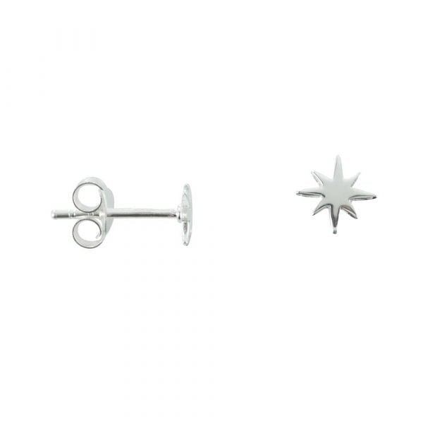 E758 Silver EARRING MONOCHROME Small Flash Star Stud Earring