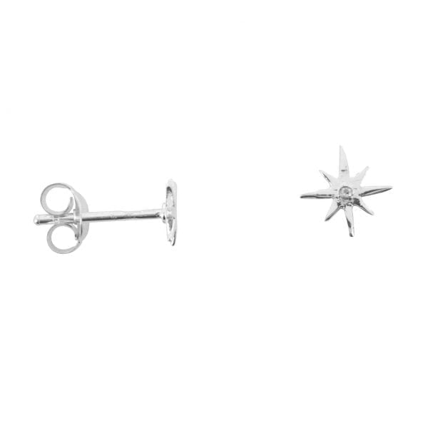 E758b Silver EARRING MONOCHROME Small Flash Star White One Twinkle Stud Earring