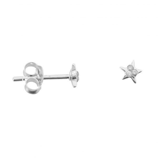 E759 Silver EARRING MONOCHROME Small Star White Twinkles Stud Earring