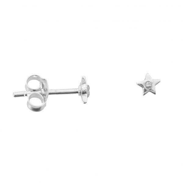 E759a Silver EARRING MONOCHROME Small Star White One Twinkle Stud Earring