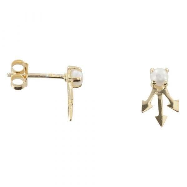 E763 Gold EARRING MONOCHROME Pearl Three Arrow Stud Earring
