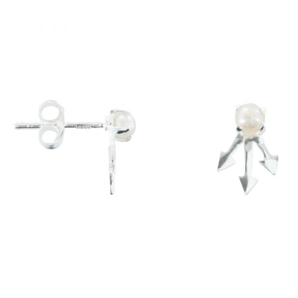 E763 Silver EARRING MONOCHROME Pearl Three Arrow Stud Earring