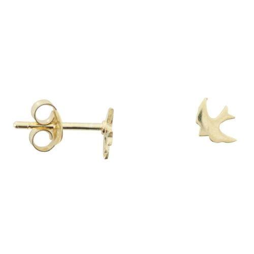 E765 Gold EARRING MONOCHROME Little Swallow Stud Earring