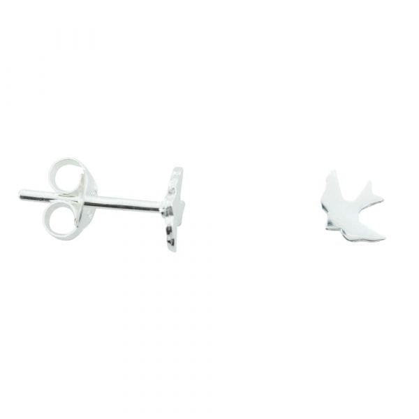 E765 Silver EARRING MONOCHROME Little Swallow Stud Earring