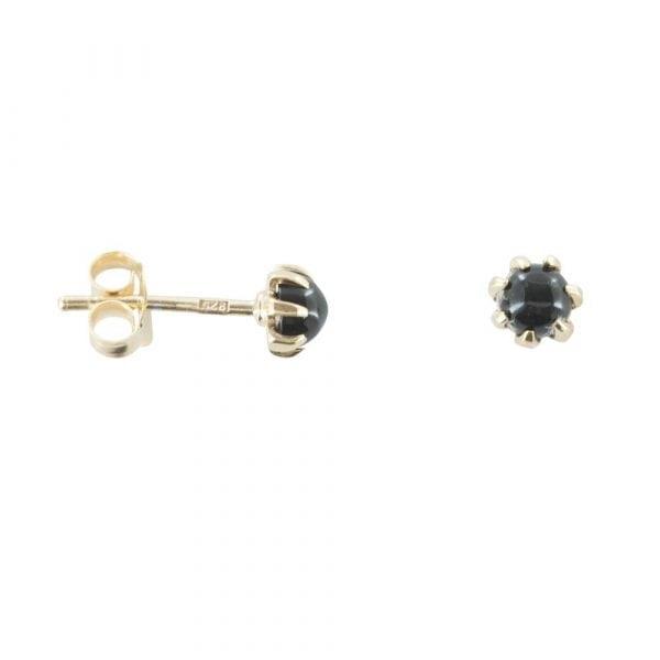 E766 Gold EARRING MONOCHROME Black Onyx Rough Stud Earring