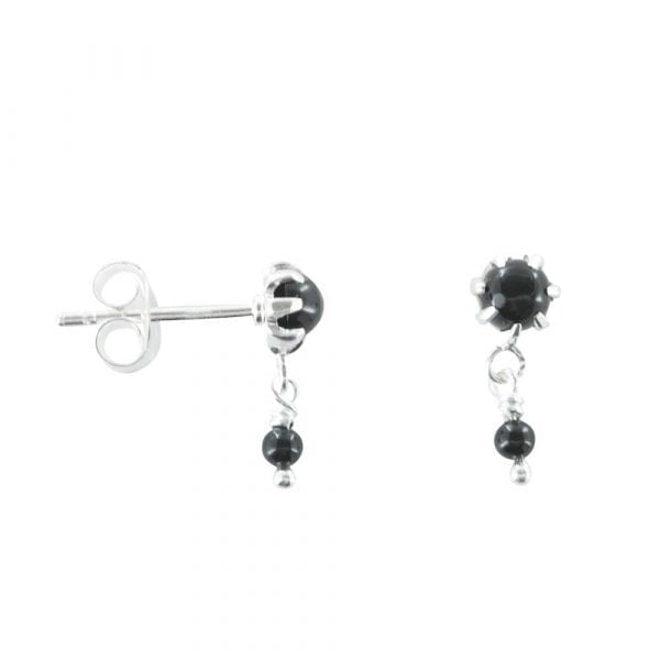 E766a Silver EARRING MONOCHROME Double Black Onyx Stud Earring