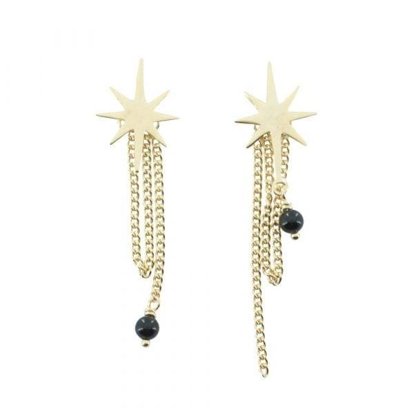 E768 Gold EARRING MONOCHROME Big Double Flash Star Black Onyx Stud Earring
