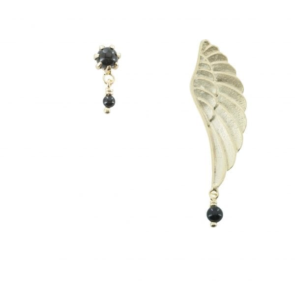 E770 Gold EARRING MONOCHROME Large Wing and Double Black Onyx Stud Earring