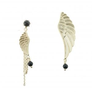 E771 Gold EARRING MONOCHROME Double Big and Small Wings Black Onyx Stud Earring