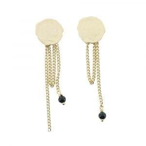 E774 Gold EARRING MONOCHROME Double Ten Cent Black Onyx Stud Earring