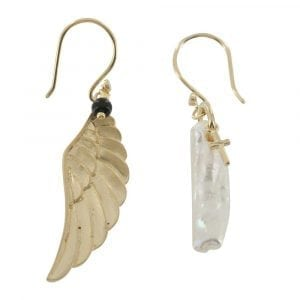 E778 Gold EARRING MONOCHROME Large Wings and Big Rough Pearl Hook Earring
