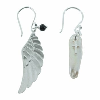 E778 Silver EARRING MONOCHROME Large Wings and Big Rough Pearl Hook Earring