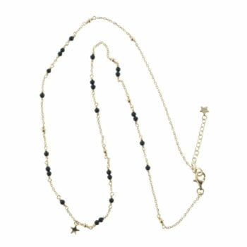 N766 Gold NECKLACE MONOCHROME Black Onyx Chain Necklace (41 cm)