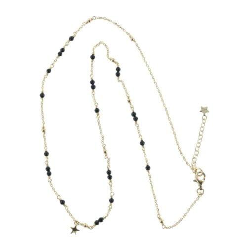 N766 Gold NECKLACE MONOCHROME Black Onyx Chain Necklace (41 cm)