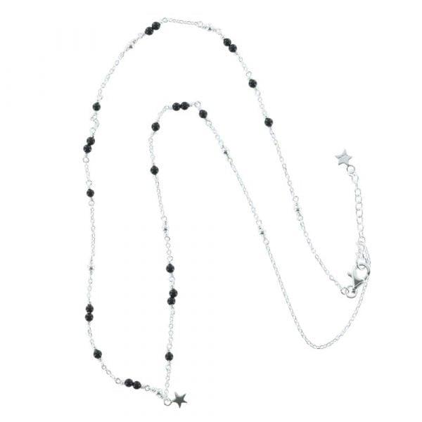 N766 Silver NECKLACE MONOCHROME Black Onyx Chain Necklace (41 cm)